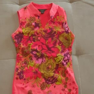 Beautiful floral top with piping/slv/col